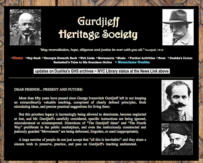 Dushka Howarth Gurdjieff Heritage Society website