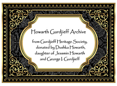 bookplate for Howarth Gurdjieff Archive books